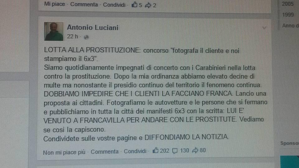 Francavilla: Luciani, poster con foto clienti prostitute