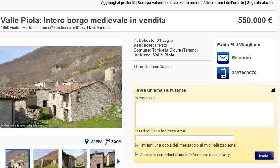 Fa festa il Borgo teramano in vendita su Ebay