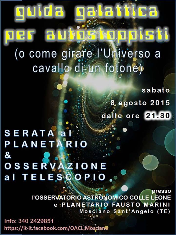 """Osservatorio Colle Leone: Universo in """"autostop"""""""