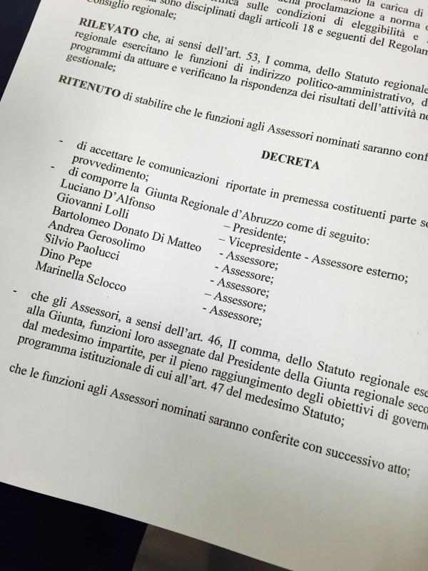 Regione Abruzzo, il giorno delle deleghe