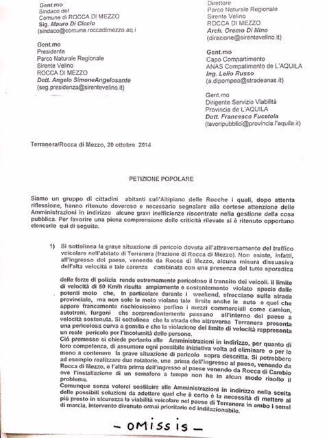Petizione sulla SP 38 a Terranera di Roccadimezzo