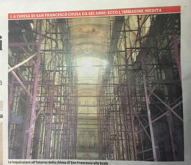 Crollano gli affreschi della chiesa di San Francesco a Chieti