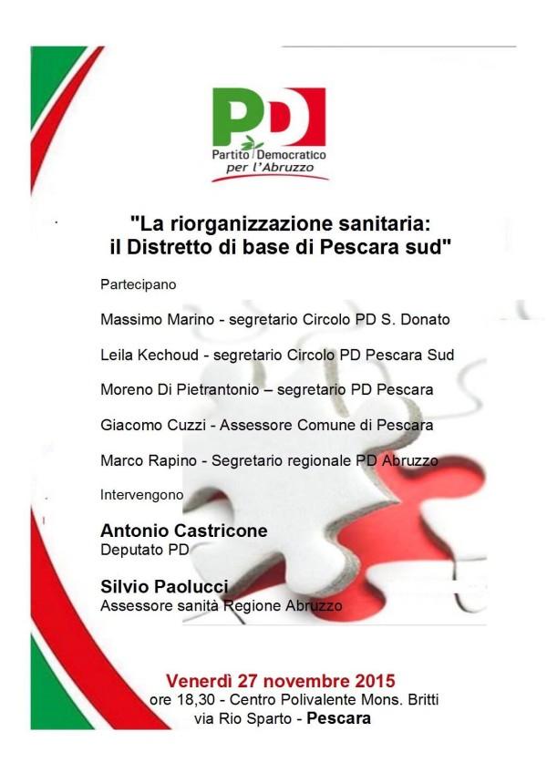 Pd Pescara: Incontro pubblico su distretto sanitario Pescara Sud