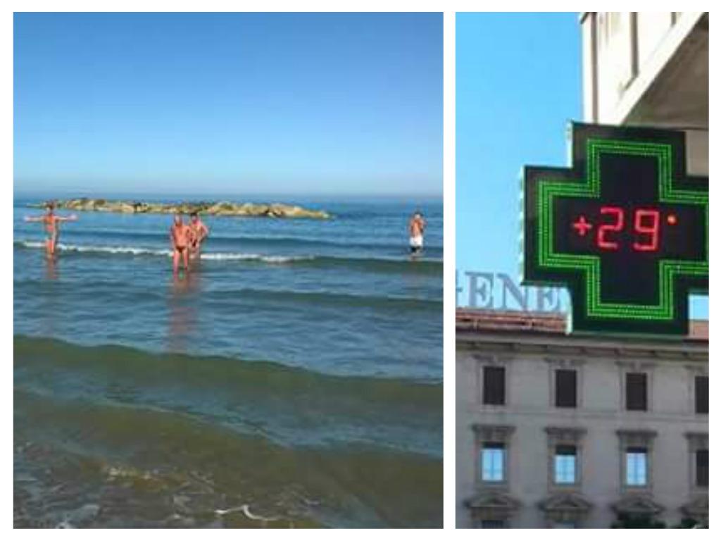 Pescara: domenica di sole in spiaggia e c'è chi fa il bagno