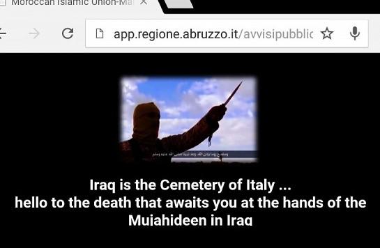 """D'Alfonso: """"Il sito della Regione Abruzzo hackerato. Firma Isis"""""""
