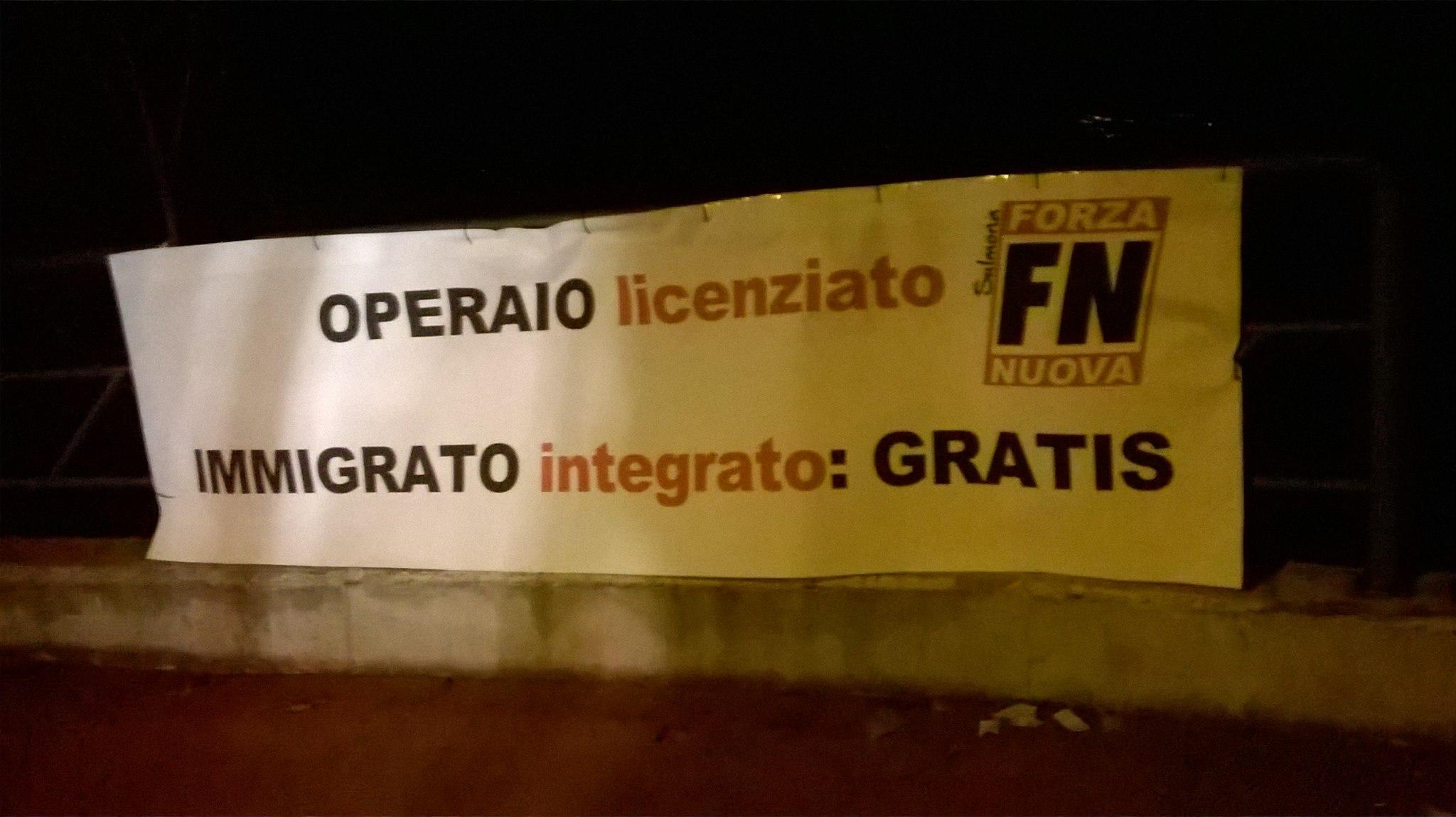 A Sulmona Forza Nuova contro operai- immigrati