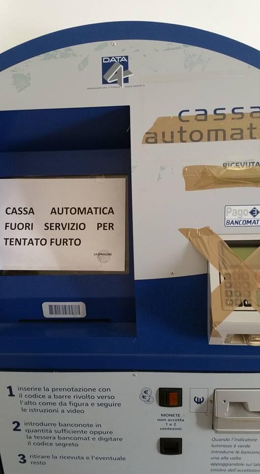 Asl Pescara, cassa automatica fuori uso per furto