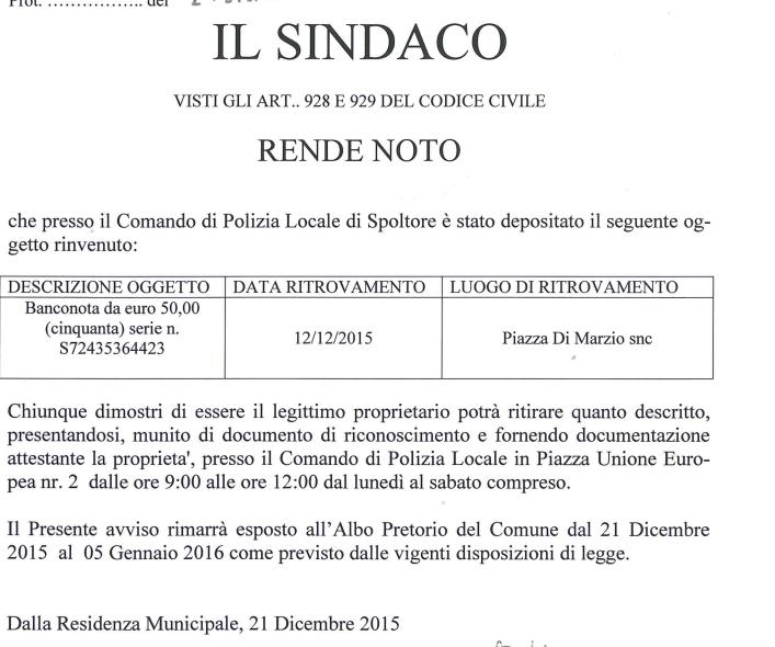Spoltore: avviso 50 euro persi, parla il Sindaco