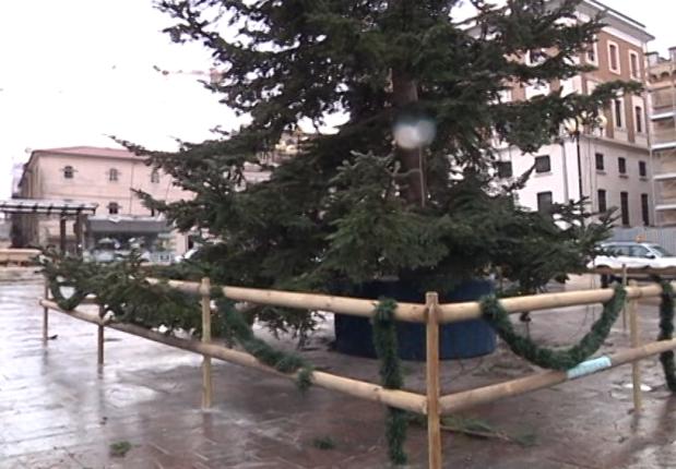 """Albero di Natale a L'Aquila """"storto e striminzito"""""""