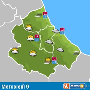 Previsioni meteo Abruzzo 9 dicembre
