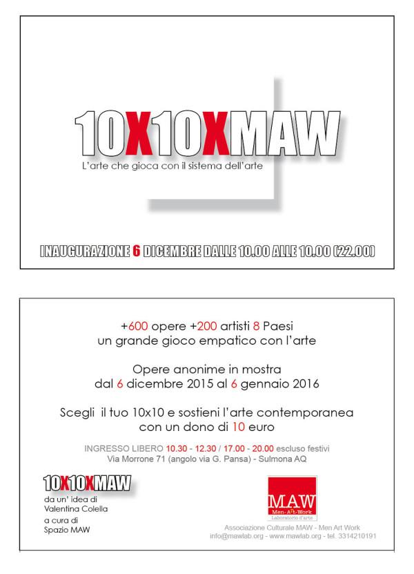 """Arte a Sulmona: Domenica al via la mostra """"10X10XMaw"""""""