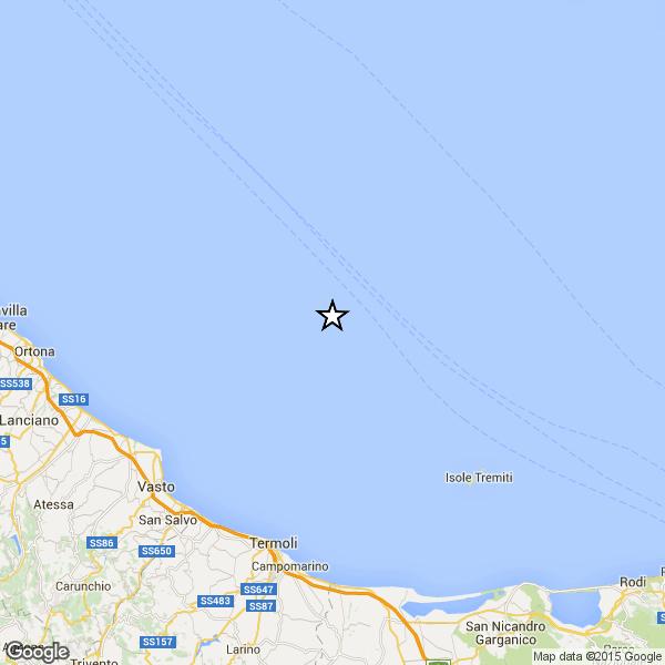 Sciame sismico in Adriatico: Altra scossa al largo di Vasto