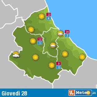 Previsioni meteo Abruzzo 28 gennaio
