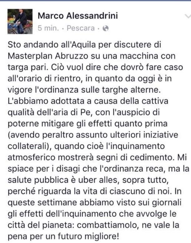 Post Marco Alessandrini su Facebook