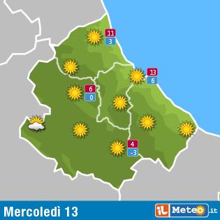 Previsioni meteo Abruzzo 13 gennaio