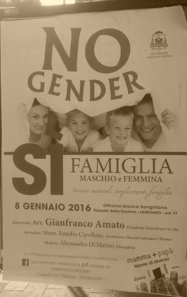 """Arcigay contro Curia Lanciano su convegno """"No gender"""""""