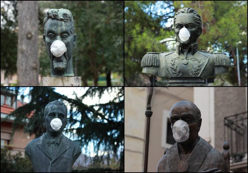 Sulmona: mascherine antismog sulle statue contro la Snam