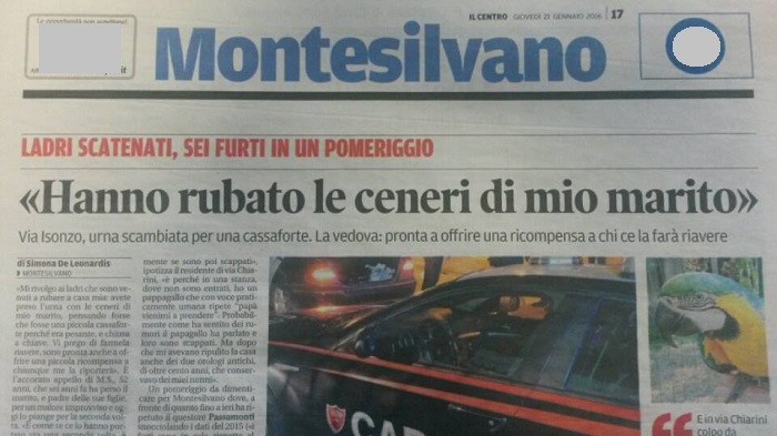 Montesilvano: rubano le ceneri del marito, appello ai ladri