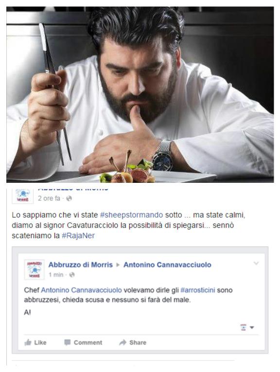 """Cannavacciuolo: """"Arrosticini napoletani"""", Web in rivolta"""