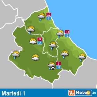 Meteo Abruzzo 1° marzo: precipitazioni e temperature in calo