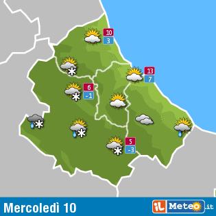Meteo Abruzzo 10 febbraio: nuvolosità variabile