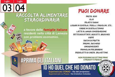 Pescara: la raccolta alimentare di CasaPound
