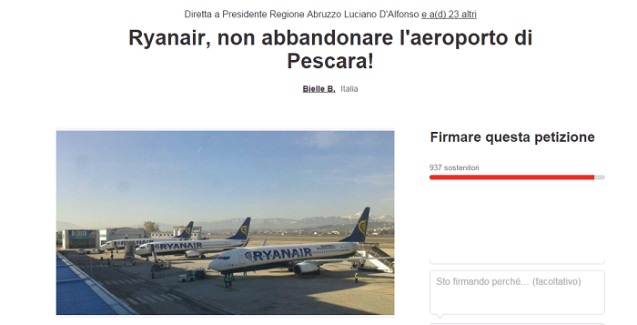 """Petizione on line: """"Ryanair non lasciare Aeroporto Abruzzo"""""""