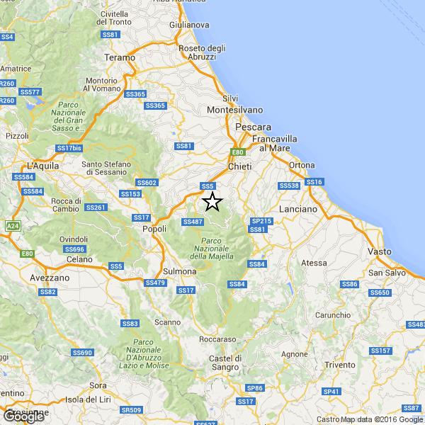 Terremoto: scossa avvertita a Pescara e provincia