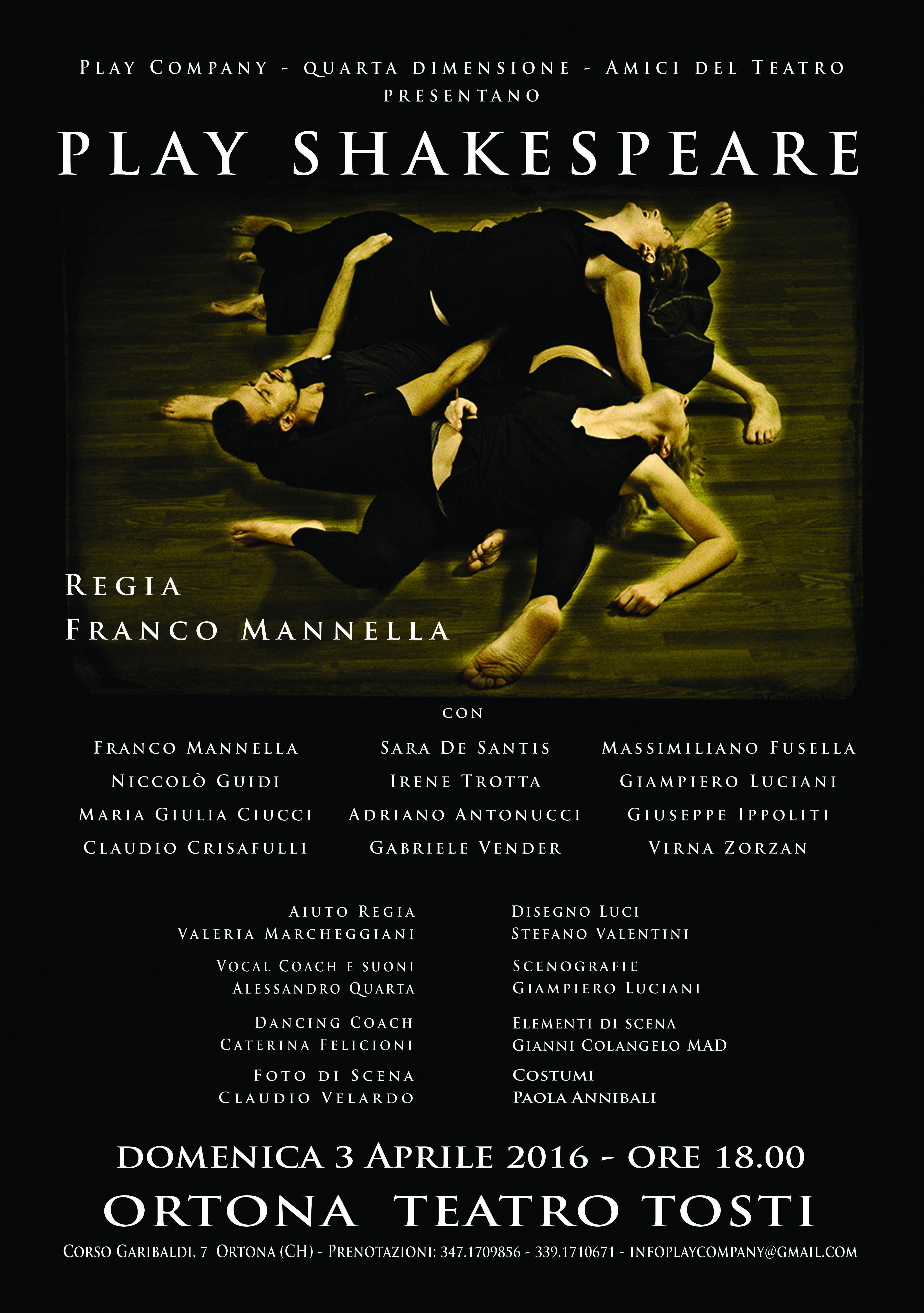 "Ortona: ""Play Shakespeare"" al teatro Tosti"