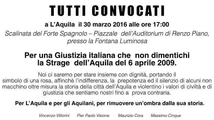 """Sisma L'Aquila, con una rosa: """"Giustizia non dimentichi"""""""