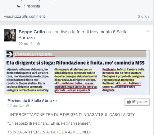 La City Pescara: Beppe Grillo rilancia l'intercettazione su Pettinari