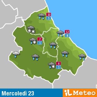 Previsioni meteo Abruzzo mercoledì 23 marzo