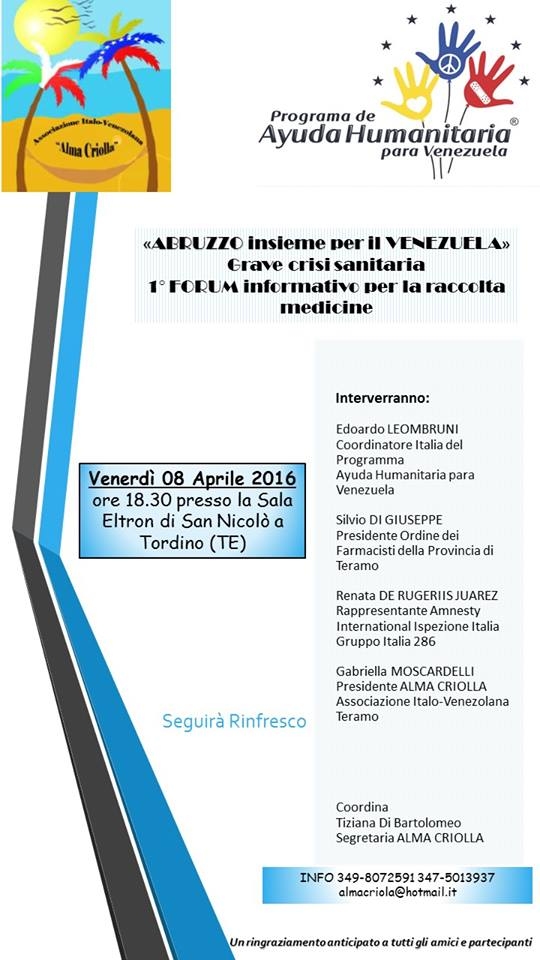 San Nicolò a Tordino: Abruzzo insieme per Venezuela