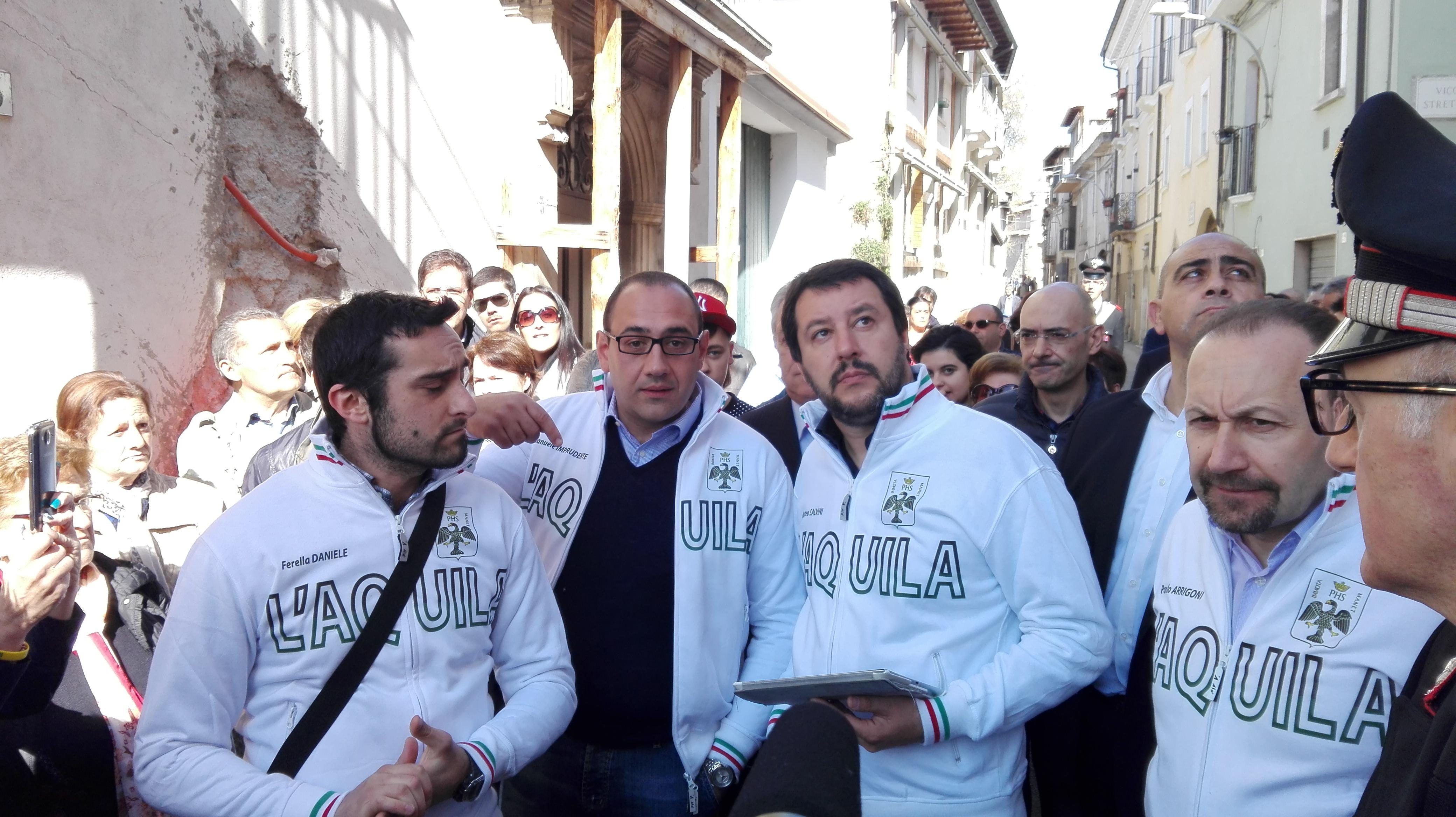 Matteo Salvini a L'Aquila, incontri sulla ricostruzione