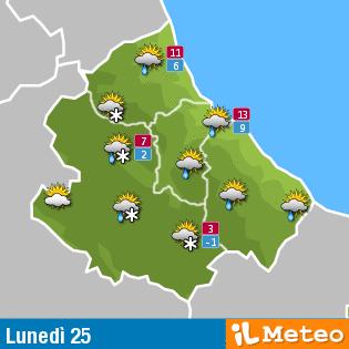 Previsioni meteo Abruzzo lunedì 25 Aprile