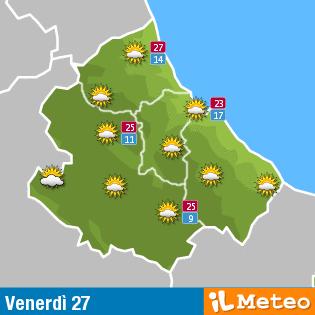 Previsioni meteo Abruzzo venerdì 27 maggio