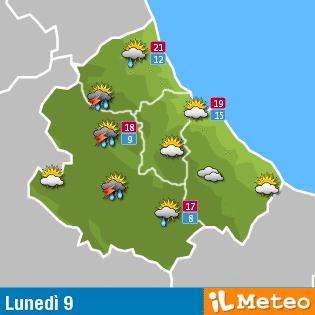Previsioni meteo Abruzzo lunedì 9 maggio