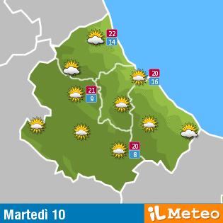 Previsioni meteo Abruzzo martedì 10 maggio