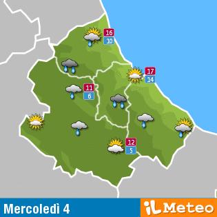 Previsioni meteo Abruzzo mercoledì 4 maggio