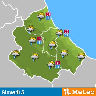 Previsioni meteo Abruzzo giovedì 5 maggio
