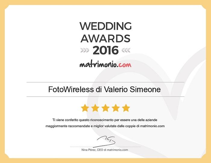Wedding Awards 2016 alla FotoWireless