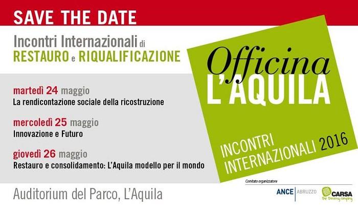 """Ricostruzione: da domani """"Officina L'Aquila"""""""