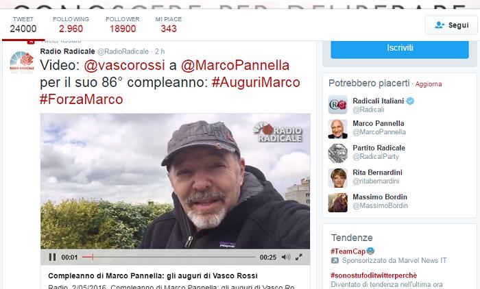 Gli 86 anni di Pannella: gli auguri di Vasco & C.