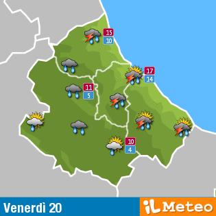 Previsioni meteo Abruzzo venerdì 20 maggio