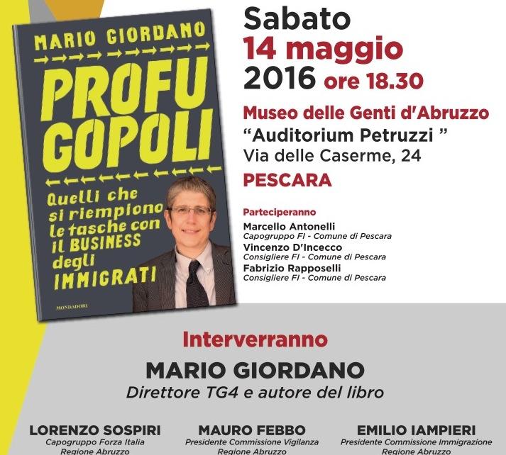 "A Pescara, sabato 14 aprile ""Profugopoli"" di Mario Giordano"