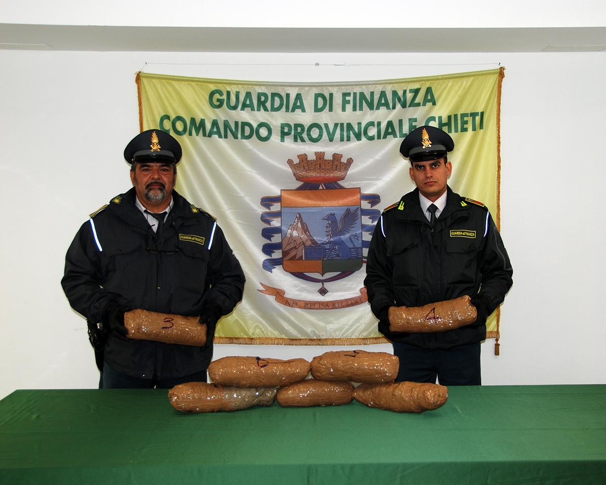 Chieti: Gdf sequestra 10 kg di marijuana e 3 di eroina