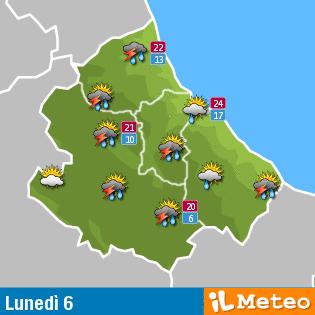 Previsioni meteo Abruzzo lunedì 6 giugno