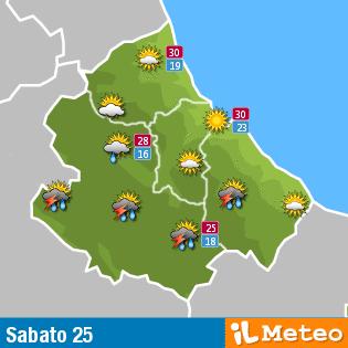Previsioni meteo Abruzzo sabato 25 giugno