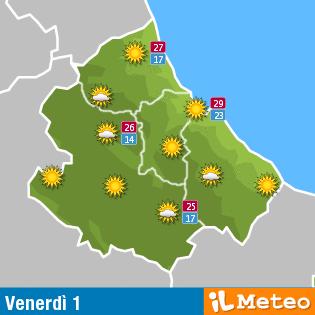 Previsioni Meteo Abruzzo venerdì 1° luglio
