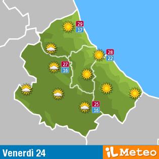 Previsioni Meteo Abruzzo venerdì 24 giugno